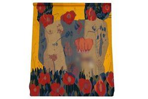 MCM Art Deco Erotic Adam & Eve wool slit weave tapestry Modernist