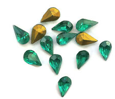 Vintage 8x5mm Pear Shape Rhinestones Emerald Lot Teardrop Shape gold Foil (25E)