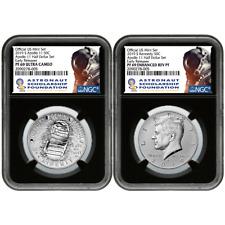 2019-S 50c Apollo 11 50th Ann. Half Dollar 2pc. Set Ngc Pf69 Asf Er Label Retro