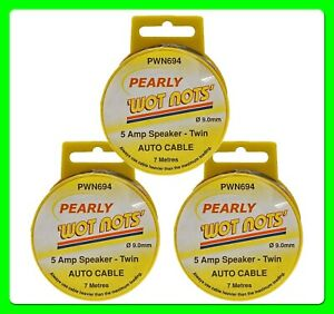 * Pack of 3 * 5 Amp Twin Speaker Cable [PWN694] 7 Meter Roll