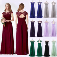UK Ever-Pretty Lace Cap Sleeves Long Bridesmaid Dresses Evening Prom Dress 09993