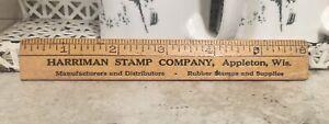 "Vintage Advertising 6"" Wood Ruler HARRIMAN STAMP Co. APPLETON Wisconsin rubber"