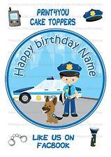 ND2 POLIZIA CARTOON COMPLEANNO PERSONALIZZATA ROUND CAKE TOPPER glassa
