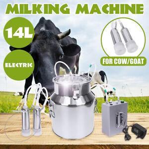 14L Doppelkopf Melkmaschine Vakuum Impuls Pumpe Kuh Ziegen Melker mit Zubehör DE