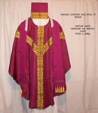 Chasuble gothique étole bourse de prêtre - Messe - Aube - Calice - Etole