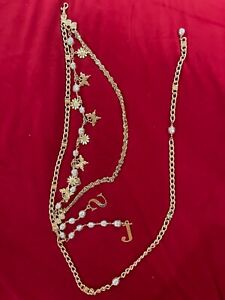ST. JOHN  3 TIER GOLD CABLE CHAIN FAUX PEARL BELT