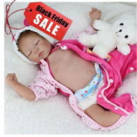 "Lifelike 22"" Soft Silicone Vinyl Reborn Baby Girl Doll Newborn Toy Kid Gift 1pcs"