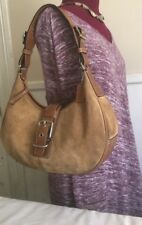 RARE COACH 7559 Shoulder Bag Camel Tan Suede Leather Hobo Bag