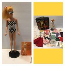 Rare #4 Barbie 1959 - 1960 w/ Stand Orginal Case Accessories - Clothes! Glasses!