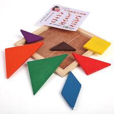 1x Tangram Géométrie Puzzle Jeux Jouet Bois Bébé Enfant Education Cadeaux Toy NF