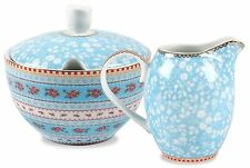 Pip Studio Porcelain Sugar Bowl and Cream Set, Blue, 3 Piece Set, Chinese Rose