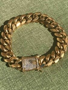 Men Cuban Miami Link 14mm Thick Bracelet Stainless 18k Gold Plated Diamond Clasp