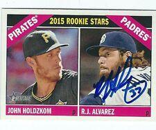 Autographed R. J. Alvarez Boston Red Sox  2015 Topps Heritage Card #123