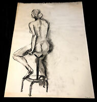 Vintage Original Nude Female Figure Study Charcoal Gesture Drawing Signed Back
