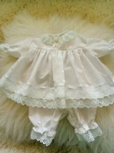 Handmade Prem baby Two piece Dress set Size 3-7 Lbs White Broderie fabric