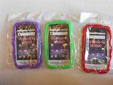 (LOT OF 3) NEW Silicone SOFT Case  GREEN RED and PURPLE for LG Optimus M MS690