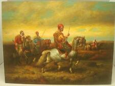 """Dipinto ad olio su pannello in Legno-Scena Guerriero Arabo - 16"""" x 12"""" - DIPINTI A MANO"""