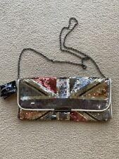 BNWT ACCESSORIZE GOLD METALLIC SEQUIN UNION JACK SHOULDER BAG!!