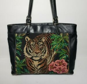ISABELLA FIORE RARE TIGER TOTE EMBELLISHED TAPESTRY APPLIQUE MULTIMEDIA $445