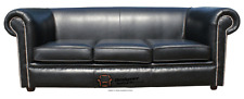 Chesterfield 1930's 3 Seater Sofa Suite Settee Hand Dyed Black Real Leather