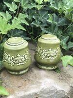 Vintage Ceramic  Green Salt & Pepper Shaker Set w/ Genie Bottle Detail