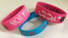 3 BRACELETS Silicone Rubber Flexible 2 - ONE DIRECTION & 1 - NICKI MINAJ Roman