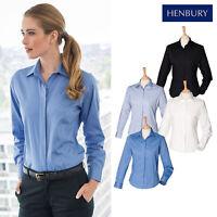 Henbury Women's Long Sleeve Oxford Shirt H551 - Ladies Plain Formal Wear Shirt