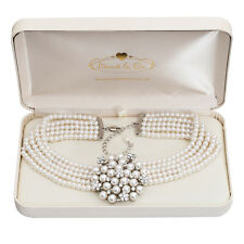 Audrey Hepburn Pearl & Diamante Vintage Style Necklace Cream with Gift Box Set