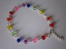 Argento Caviglia Bracciale-Multi/Rainbow Perline di vetro di colore - 9.5 Pollici & Extender