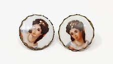 Vintage Limoges France Fine Porcelain Cameo Screw Earrings Hand Painted