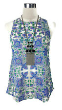 HERE COMES THE SUN - Floral Mesh Singlet Boho Vintage White Green Purple Blue 8