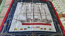 Vintage GUCCI Nautical Theme 100% Silk Scarf 4 Masted Ship, Flags of The World