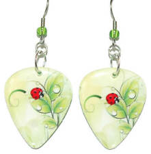 BRIGHT LIME GREEN & RED LADYBUG GUITAR PICK DANGLE EARRINGS (GP036)