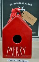 Rae Dunn Birdhouse MERRY Square Red NEW VHTF Christmas Holiday '20
