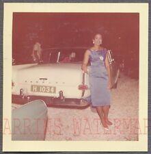 Vintage Car Photo Pretty Black Girl w/ 1958 1959 Rambler Automobile 750303