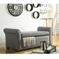 PU Leather Storage Ottoman Bench with Nail head Trim