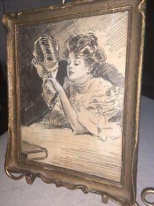 Vintage Ink Print Victorian Gibson Girl & Man Romantic  Art Nouveau Frame 8 x 10