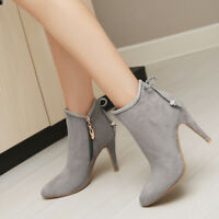 Women Ankle Fashion Boots Bows High Slim Heels Pointy Toe Zip Party Bootie Shoes