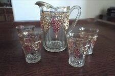 LATE PANELLED GRAPE Indiana Glass Company Pitcher and Tumber Set #154