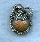 VINTAGE ~ TIBET COIN WITH SILVER & CORAL SNUFF CONTAINER