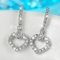 18K WHITE GOLD GF CLEAR CRYSTAL STUD DANGLE DROP HEART EARRINGS 925 SILVER POST