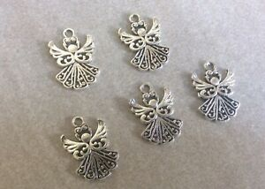 Antique Silver,Angel Charms,Hollow, 5pcs,20x23mm,Diy Jewellery Making,Christmas