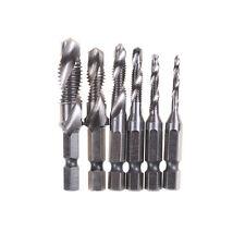 6pc Drill Tap M3-M10 Countersink Deburr Set Metric Combination Drill Tap Bit XTY