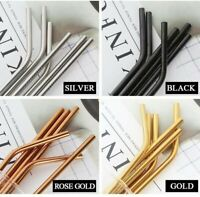 ECO Stainless Steel Straws Reusable Metal Straw Gift Kitchen Party Colours UK
