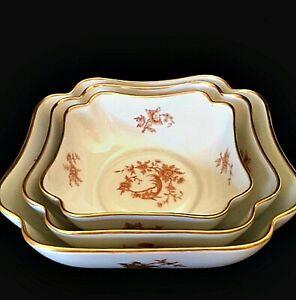 Limoges France Nesting Bowls Set of Three Vintage Gold Trim Birds Flowers 1940s