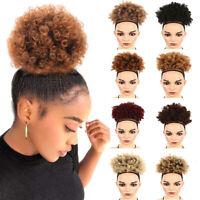 Afro Ponytail Puff Drawstring Wrap Synthetic Short Curly Hair Bun Updo Chignon U