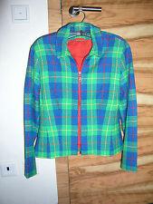 Damen Boucle Jacke blau grün rot kariert Gr. 38 rotes Stretchfutter