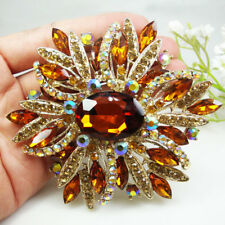 Brown Crystal Oval Flower Pendant Woman Vintage Brooch Pin Gold Tone