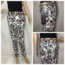 ZARA MULTICOLOURED FLORAL PRINT TROUSERS WITH BELT SIZE UK 8 - SMALL
