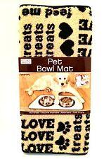 Pet Bowl Mat Dogs Cats Absorbent Microfiber Black Tan Paws Hearts 20 in Long